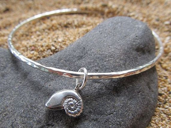 Sterling Silver Bangle, Nautilus Shell, Hammered Bracelet, Hawaii Beach Jewelry, Hawaiian Jewelry, Gift for Her