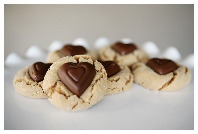 Peanut butter blossoms with hearts!