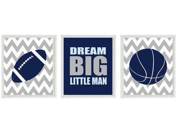 Sports Nursery Wall Art Print Set - Light Blue Navy Gray Chevron - Basketball Football Baby Boy - Dream Big Little Man Home Decor - 3 8x10 on Etsy, $42.00