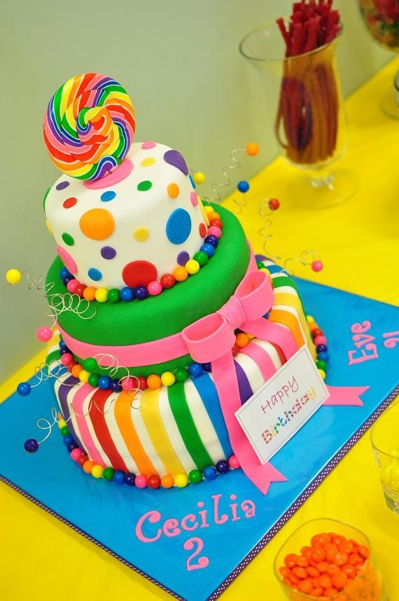 Candyland themed cake for my daughters combined birthday party.  Inspired by Pinkcakebox cakes.  Gumballs are real and so is the lollipop on top. Cake is a 6/9/12.