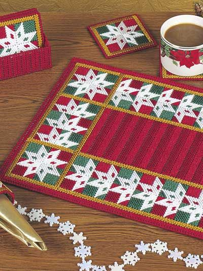 Plastic Canvas - Patchwork Snowflakes Table Set - #EHP0338