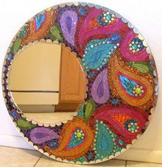 What a beautiful mosaic mirror!  These colors are perfect for my house.