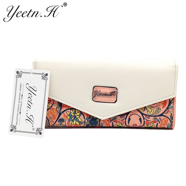 2017 Hot Sale Envelope Women Wallet  Flowers Printing Five Colors PU Leather Wallet Long Ladies Clutch Coin Purse M0158