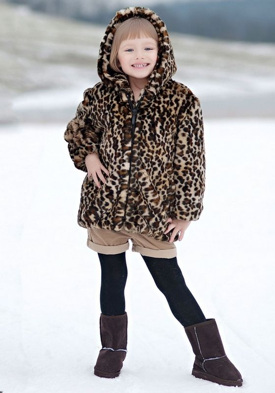 Leopard Faux Fur Coat Children's