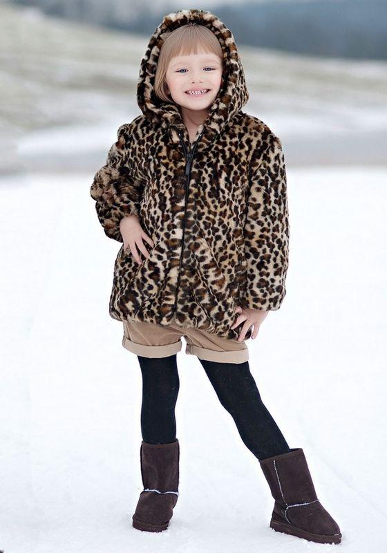 Leopard Faux Fur Coat Children's