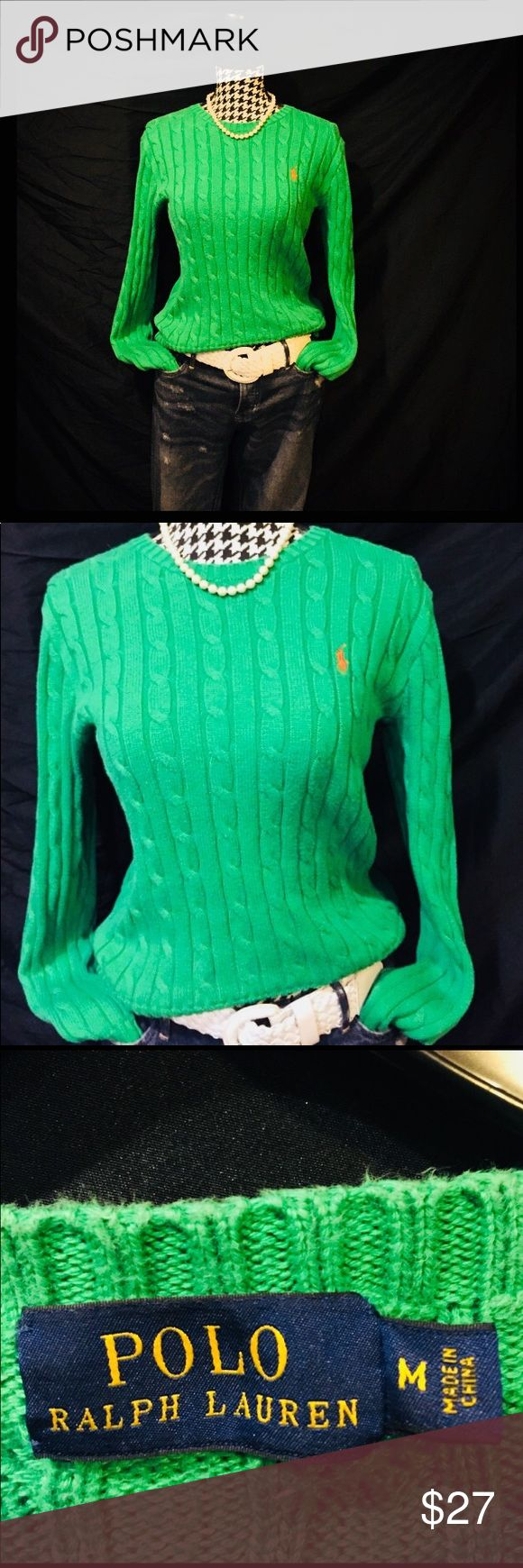 Polo Ralph Lauren Kelly Green Cable Knit Sweater Slim fit Kelly green with orange pony cable knit sweater By Ralph Lauren size M brighten up your winter sweater wardrobe also perfect for early spring days! Polo by Ralph Lauren Sweaters Crew & Scoop Necks