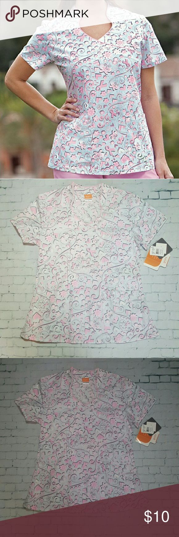 CLEARANCE Breast Cancer Awareness Scrub Top- S No holes or stains. More vibrant in person. Size small. Any 2 tops for $13.  Grafx/Barco Brand. 100% Cotton  Grey's Anatomy  Urbane HeartSoul  Iguana  Dickies Med Couture Cherokee  Koi Landau Barco Tops