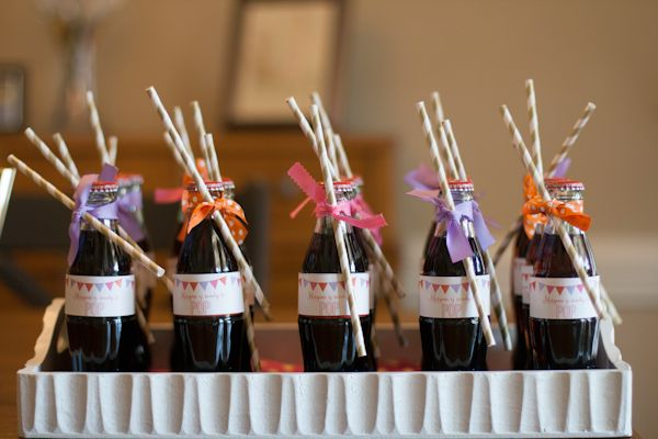 "Serve bottles of soda for a ""Ready to Pop""-themed baby shower!"