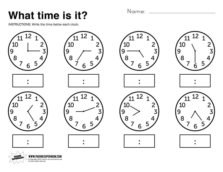 Free Printable Worksheets for Preschool | the link above to download our free printable telling time worksheet ...