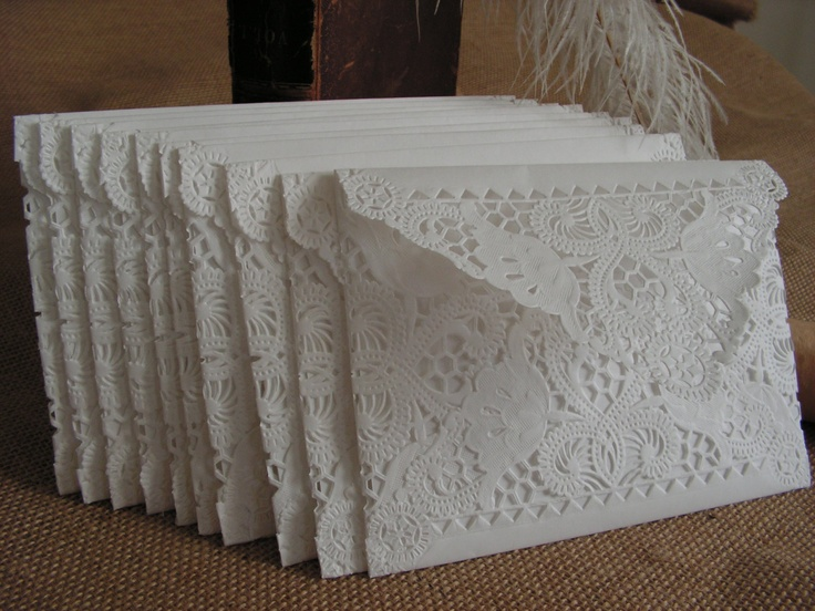 Vintage Doily Paper Lace Envelopes, Handmade, White, Wedding Invitation Liner, Tea, 50 Piece Set. $79.99, via Etsy.