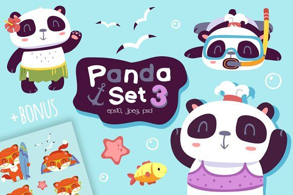 NEW Cartoon panda set 3 (+BONUS) by SunnyWS on @creativemarket