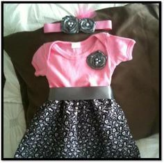 How to make a onesie dress.  Perfect project for beginner sewers!  Very easy... Also has. Video on how to make roses out of ribbons ..pretty awesome and easy