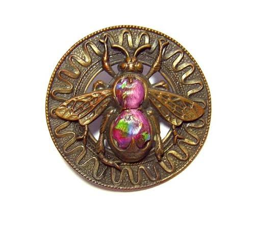 Large Antique Bronze & Art Glass Fly Motif Button - Leo Popper glass center