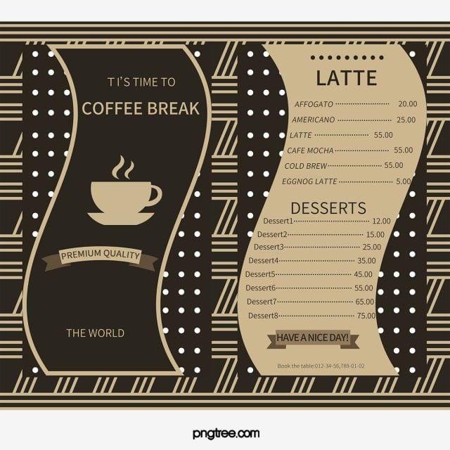 كوفي شوب قائمة قائمة قالب تصميم تصميم القائمة الغذاء أدوات المائدة مطعم Cafe Menu Menu Design Coffee Shop