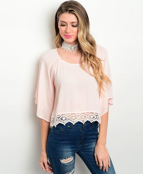 Oh So Boutique | Emilia Pink Woven Lace Top