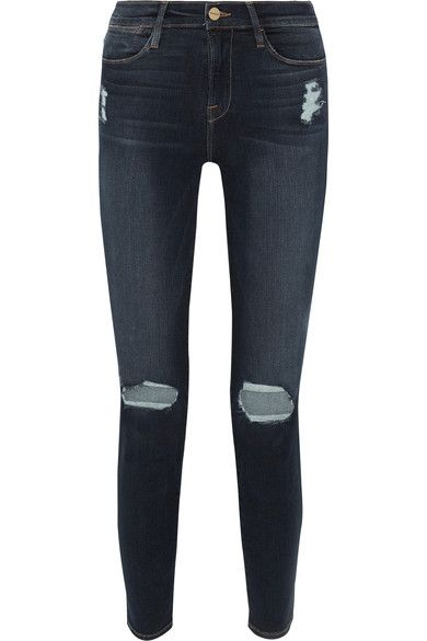 FRAME - Le High Distressed Skinny Jeans - Mid denim - 31