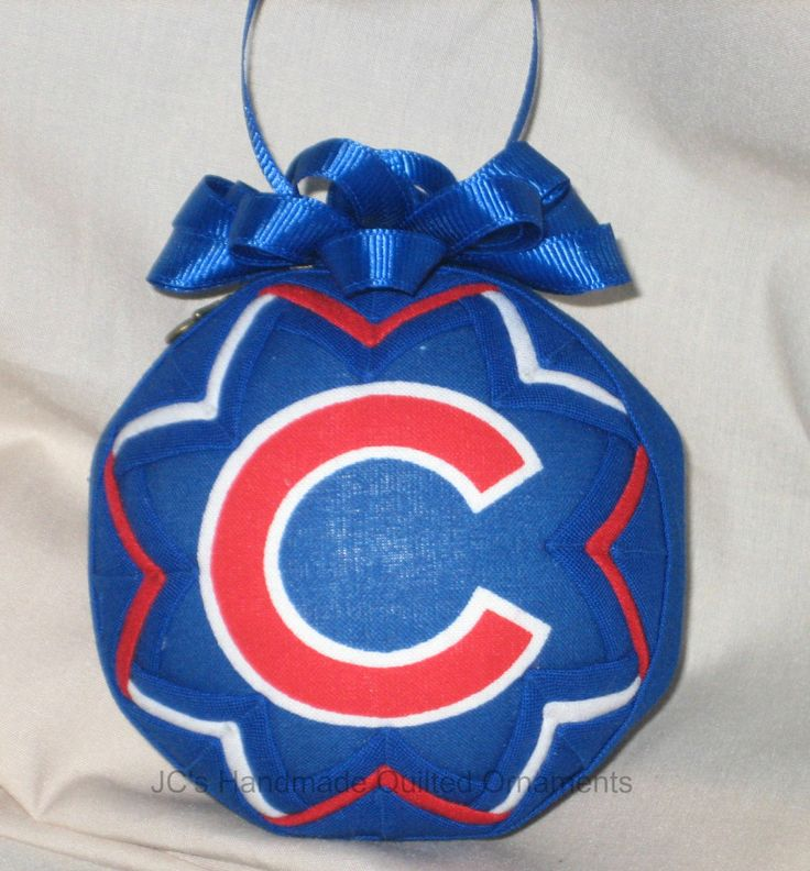 CHICAGO CUBS Ornament Made From Cubs Fabric,  Chicago Cubs tree ornament, Chicago Cubs Gift Ideas by JCQuiltedOrnaments on Etsy