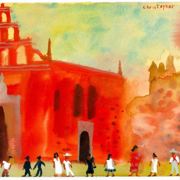 Sketch-Red-church-in-Merida Christopher Corr