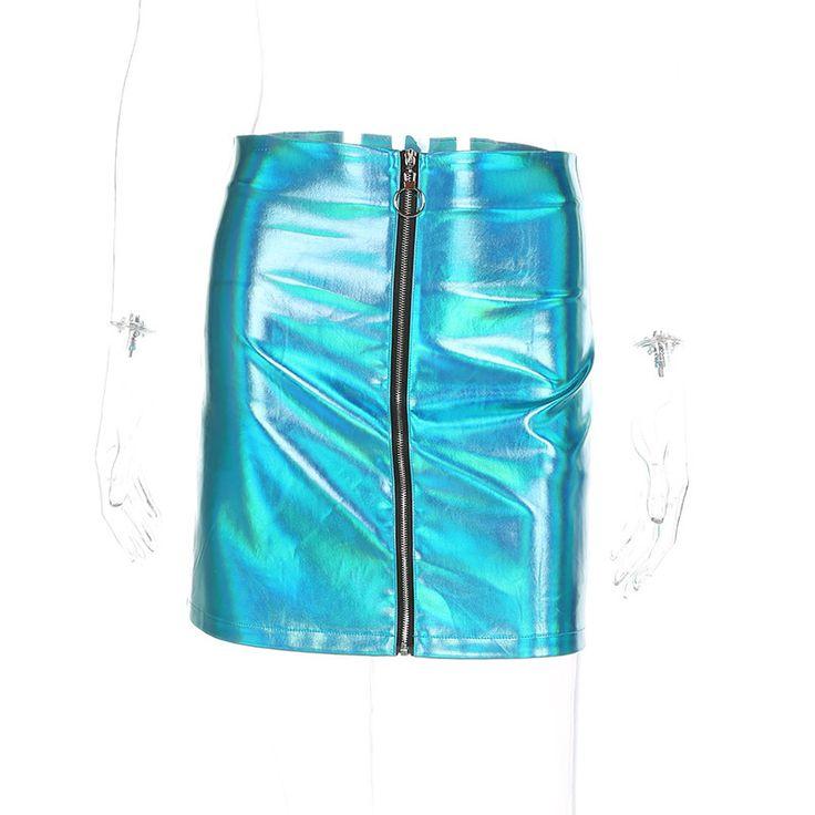 2017 Metallic Color Mini PU Leather Skirt Women Front Zipper Up High Waist Skirt Sexy Bodycon Pencil Skirt Faldas Mujer - MISS LADIES