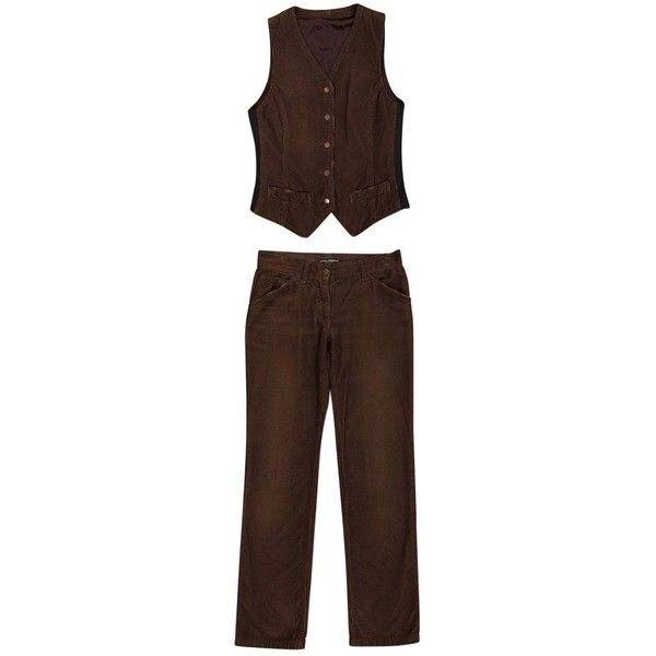 Pre-owned Dolce & Gabbana Trousers ($277) ❤ liked on Polyvore featuring pants, brown, women clothing trousers, pocket pants, zipper pants, brown pants, brown trousers and ribbed pants