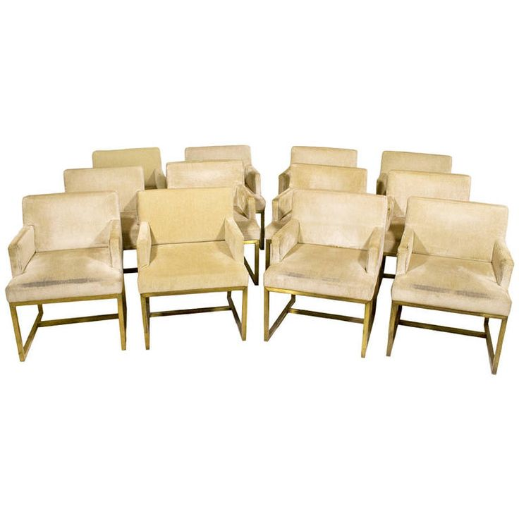 Set Of 12 Brass And Upholstered Dining Armchairs, Circa 1975, France