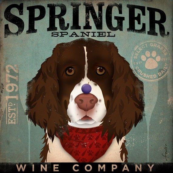 Springer Spaniel Wine Company graphic art giclee by geministudio, $39.00