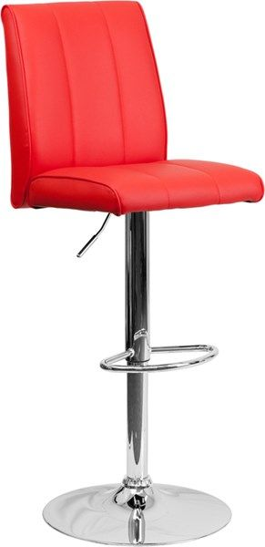 Contemporary Red Foam Metal Vinyl Adjustable Height Barstool