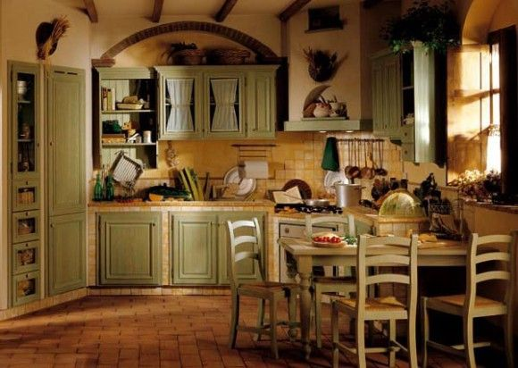 La cucina rustica colorata è originale e divertente. Pitturare Interni Colori Per La Cucina Cucina Verde Chiaro Cucine Country Cucina Verde