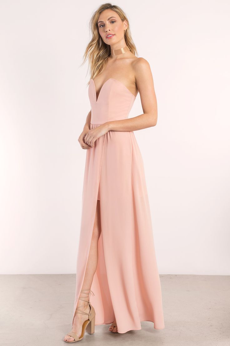 You'll turn heads with the Krys Strapless Maxi Dress. Featuring a sweetheart neckline and front slit. Pair with heels statement jewelry. - Fast & Free Shipping For Orders over $50 - Free Returns within 30 days!