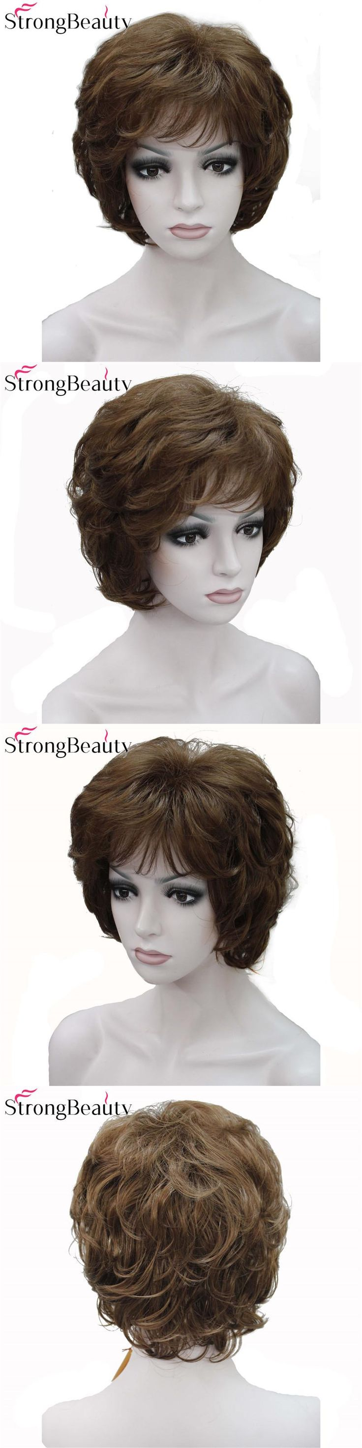 Strong Beauty Ladies Wigs Short Wave Golden Blonde Hair For Women Synthetic Capless Full Wig 16 Colors
