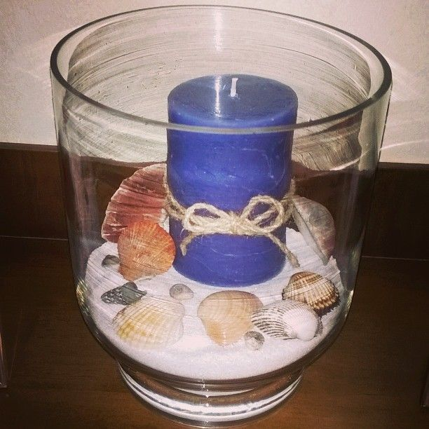 Conchiglie e candela (centrotavola/oggettistica)