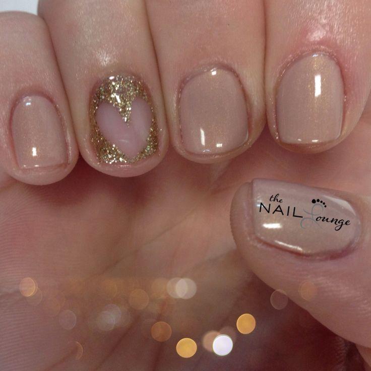 Glitter heart gel nail art
