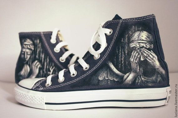"Weeping angels ""Doctor Who"" Converse shoes blue #whovian"