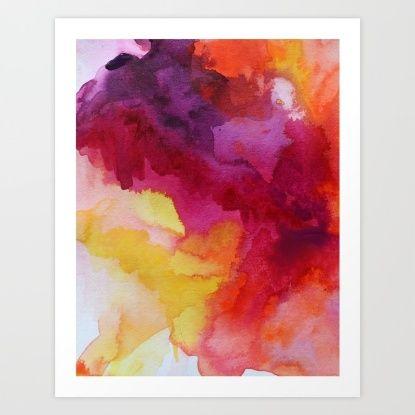 Abstract watercolor orange Art Print by Jen Merli   Society6