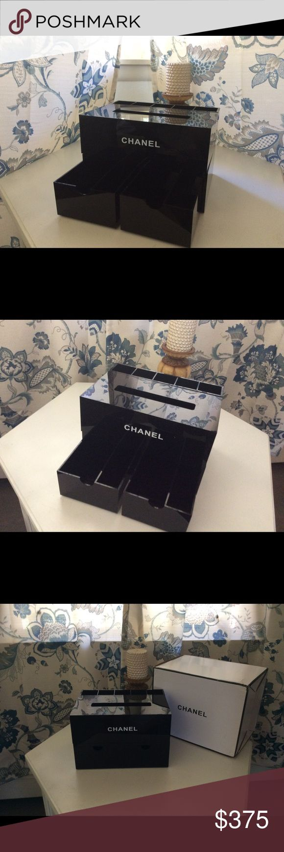 """Chanel VIP Makeup Tissue Storage Organizer Brand new, never used. Chanel VIP storage organizer. Store tissue box, make up brushes, lipsticks, nail polish or whatever needs organized. 100% authentic. Material is acrylic.  Measures 10"""" x 7"""" x 6.5"""". Other #makeups  #makeupsfemale #makeupswomen #makeupscanada #canada"""