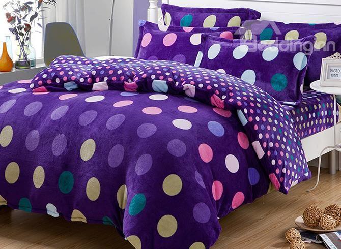 Warm Flanel Purple Polka Dots Pattern Kids Duvet Cover Set #bedding #bedroom #girls
