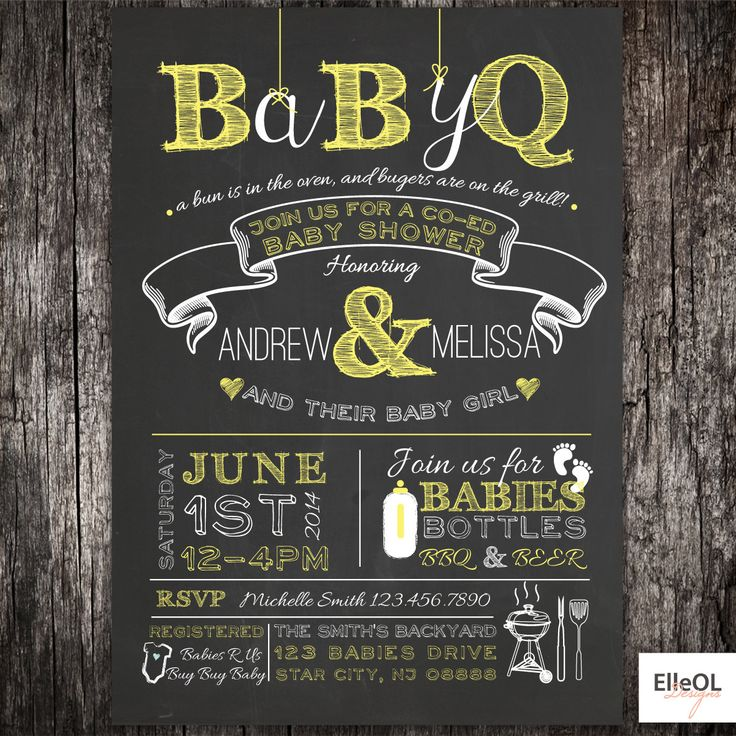 BabyQ chalkboard couples co ed Baby Shower BBQ