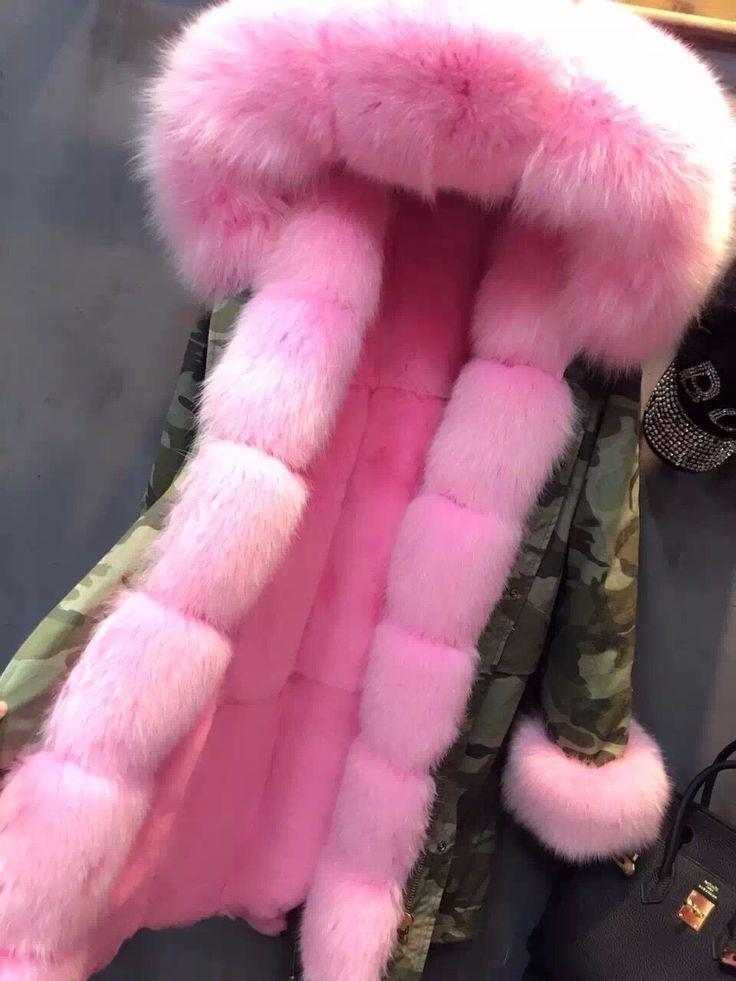 Gerçek Tavuklu Lüks Tavşan Kürk Liner Ordu Yeşil Parkası Kürk Yaka Kalın Sıcak Kış Palto Uzun Kapşonlu Ceket