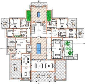 Plan of villa, ground floor - Oasis Bab Atlas Marrakech