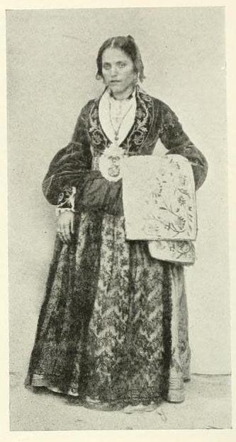 sicilian folk costume - Traditional Sicilian folk dress with camiciola jacket. Modern apron