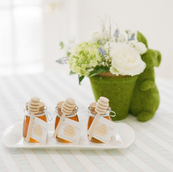 Little Love Bug darling little bottles filled with honey tied with honey dipper.  @ Winnie the Pooh baby shower | Abby Jiu | 100 Layer Cakelet