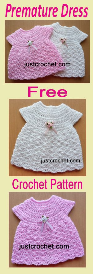 Free baby crochet pattern for preemie Dress, buttoned down the back for easy access. #crochet