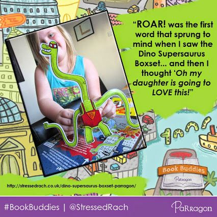 Wish we could have heard the awesome accents that @StressedRach's daughter gave her 3D dinos! Read a UK #Book Buddies review of Parragon's Dino Supersaurus Build and Play Box Set