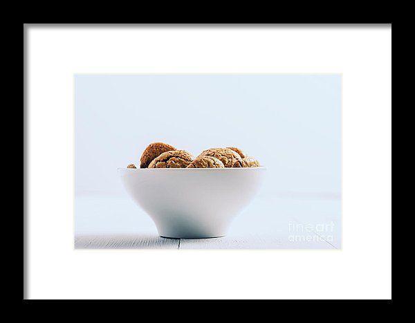 Italian Amaretti Biscuits In White Bowl Framed Print