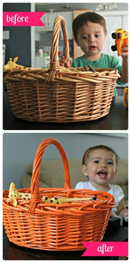 the wicker basket redo - a quick tutorial on spray painting wicker