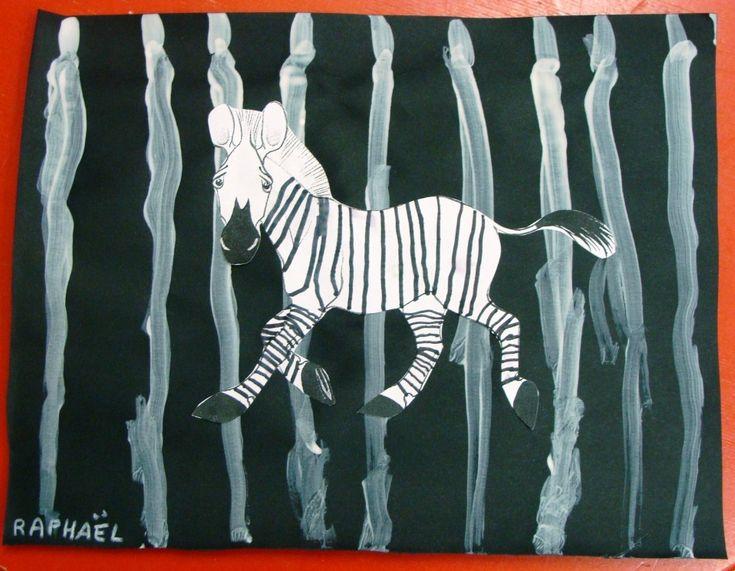 Après lecture de ZOUM, le zèbre qui a couru tellement vite qu'il en a perdu ses rayures!!!, les enfants ont pris les pinceaux...