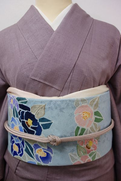 Web限定【K-2324】染名古屋帯 水色 華やかな椿の図 - きもの青木 通販ショップ|きもの青木ONLINESHOP