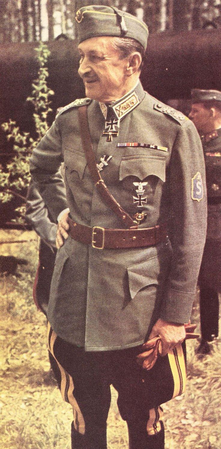 Marshal Carl Gustaf Emil Mannerheim in Finnish Army M36 generals' summer service dress uniform.