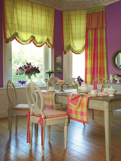 Colour Splash!: Breakfast Rooms, Romans Shades For, Happy Colors, Living Colors, Plaid Curtains, Colors Schemes, French Chairs, Bright Colors, Shades Shops