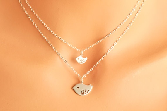 Mother and Daughter Necklace  double necklace silver by MegusAttic, 52.00